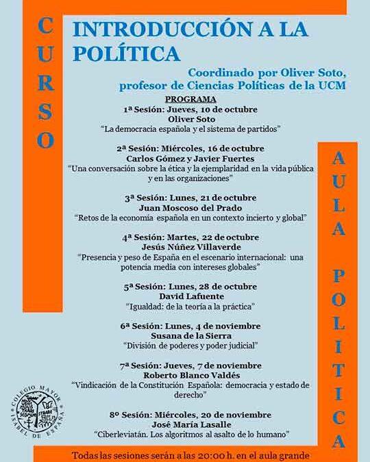10 octubre al 20 de noviembre Curso de Introducción a la Política